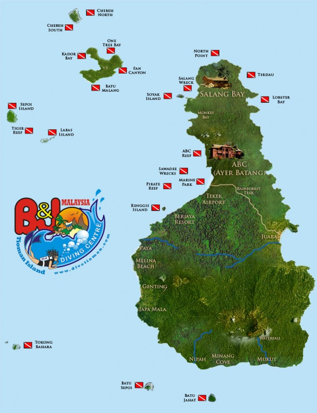 Tioman Dive Sites Map