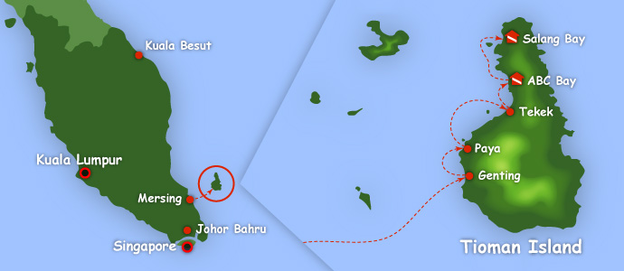 Map of Tioman Island, how to getting there
