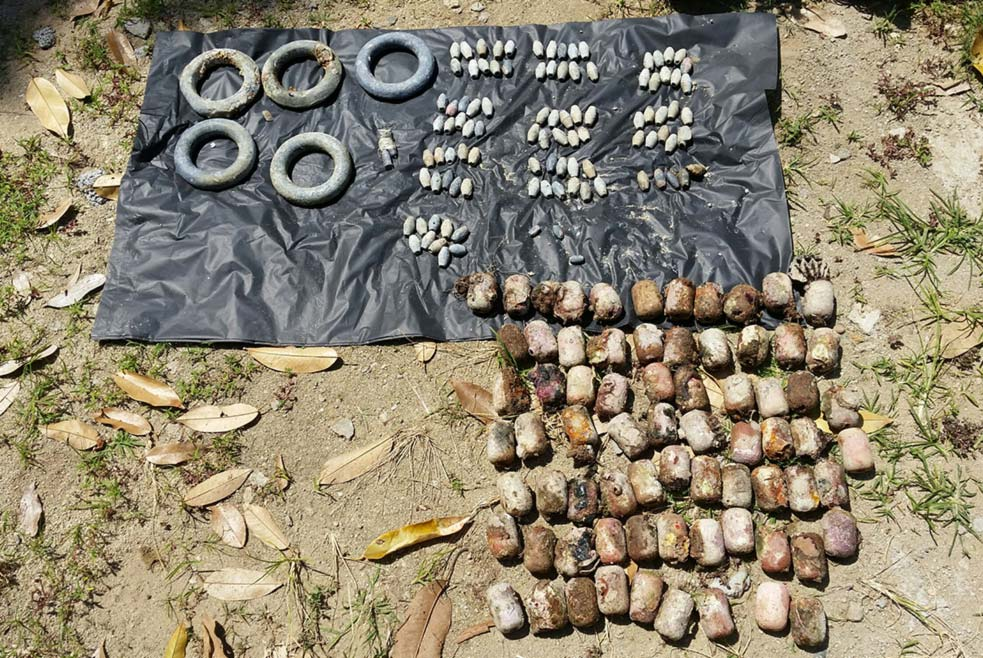 Floats and weights removed from the fishing net