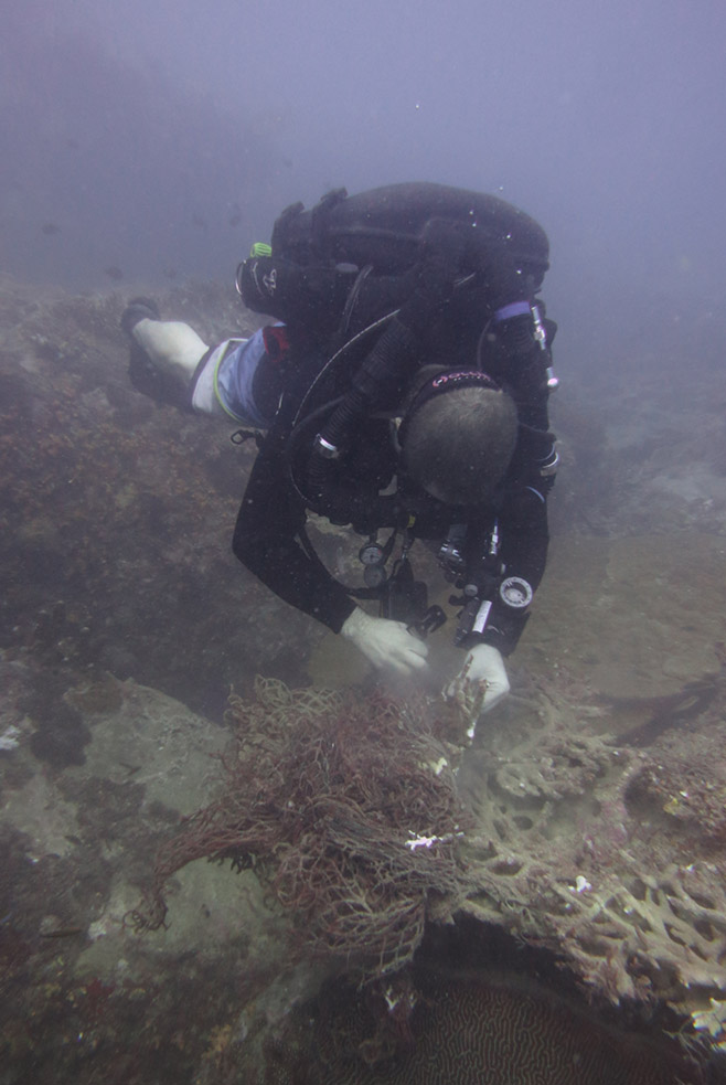 Darren can stay down way longer than the other divers with his rebreather unit!