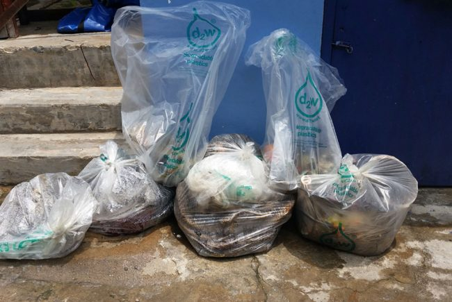 Collected trash bagged up in our biodegradable rubbish sacks
