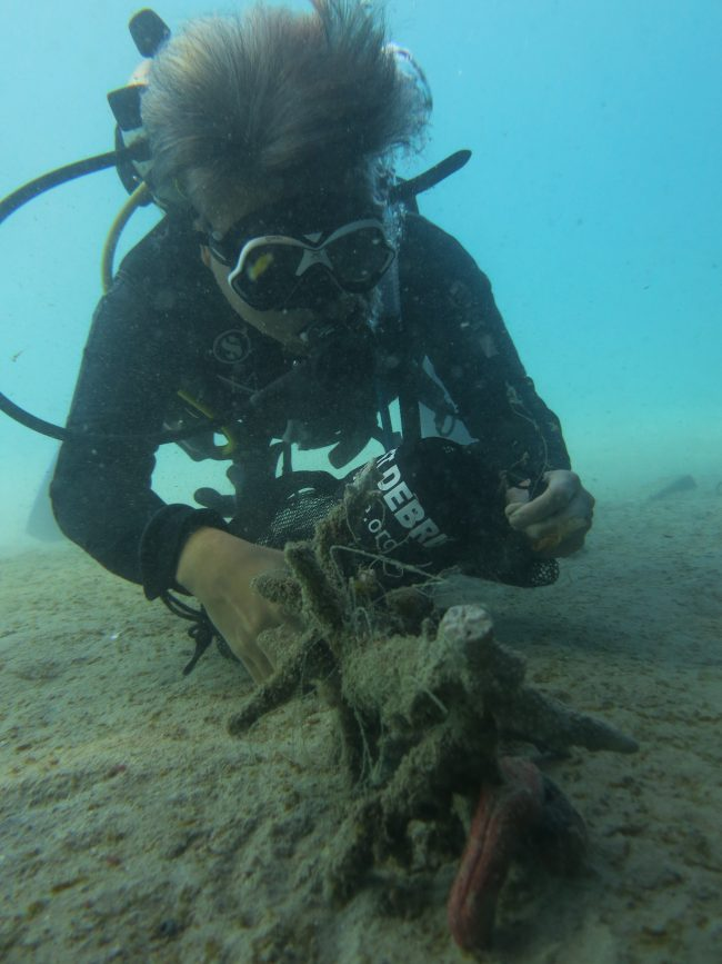 It takes a lot of patience to carefully remove entangled fishing line