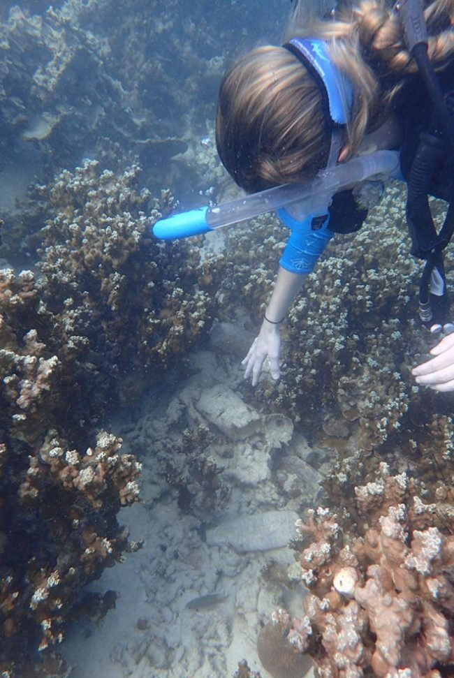 Removing marine debris from the reef